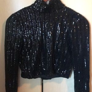 Studio 54 Ready Black Sequined Top - New